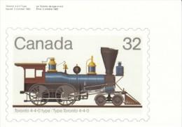 Toronto Train Engine Illustration On Canada Stamp Image On C1980s Vintage Postcard - Timbres (représentations)
