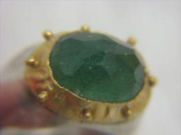 Vintage Gold & Silver Emerald Artisan Ring Israel - Rings