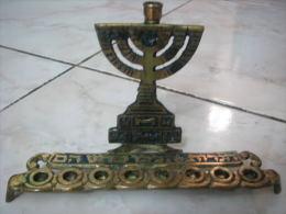 VINTAGE BRASS HANUKKAH MENORAH LAMP ISRAEL - Religione & Esoterismo