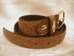 """VALENTINO VERGA Italy Genuine Leather Brown Belt 110cm 43 5/16\"""" Gold Tone Buckle - Altre Collezioni"""