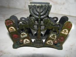 TRIBES OF ISRAEL ~ MENORAH ~ LIONS BRASS NAPKIN HOLDER - Religión & Esoterismo