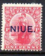 Niue 1919 1d On NZ Universal, Perf. 14 X 15, Lightly Hinged Mint (A) - Niue