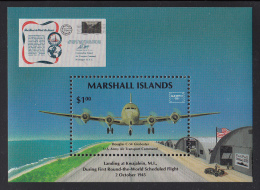 Marshall Islands MNH Scott #114 Souvenir Sheet $1 Douglas C-54 Landing During 1st Scheduled Round-the-World Flight - Marshall