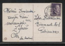 POLAND 1942 GENERAL GOUVERNEMENT POSTCARD RADOMSKO TO PABIANICE SINGLE FRANKING 12GR HITLER - General Government