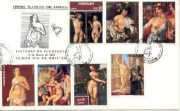 DESNUDOS PARAGUAY FDC SOBRE 1973 SERIE TBE NUDE NACKT NUDO NU NUS DESNUDO EROTICAS EROTIQUE - Desnudos