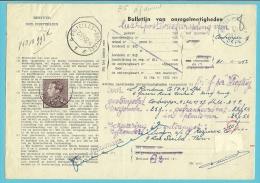 """848A op BULLETIJN VAN ONREGELMATIGHEDEN / """"Luchtpostbriefwisseling van"""" met stempel ANTWERPEN (zeldzaam dokument) !!"""
