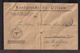 AUSTRIA 1941, WWII, LANDGERICHT ST. PÖLTEN A TRAISEN, BONITO SOBRE CON FECHADOR Y FRANQUICIA - 1918-1945 1. Republik