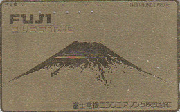 Rare Télécarte Dorée Japon - Volcan MONT FUJI - Mountain Vulcan Japan Gold Phonecard - Berg Telefonkarte - 137 - Montagnes