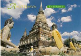 BOUDDHISME : WAT YAI CHAI MONGKOL - AYUTTHAYA (THAILANDE) - 2 Vues Des Lieux Et Des Rituels (offrandes) - Bouddhisme