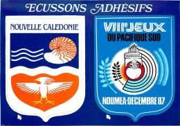 NOUVELLE CALEDONIE NOUMEA 1987 CARTE ECUSSONS ADHESIFS - Nouvelle Calédonie