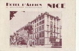France Nice Brochure Carte En 2 Volets Pour L'hôtel D'albion - Toerisme