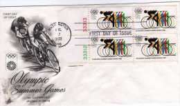 U.S.A: 1972 Belle Fdc Jeux Olympiques De Munich Cyclisme Sur Piste Bloc De 4 - Wielrennen