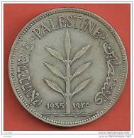 PALESTINE, PALESTINA, PALÄSTINA, SILVER 100 MILS 1935 , RARE - Israel