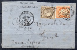 N° 38  Et N° 56   Obliteration  GC898  CHARLEVILLE 7  , Sur Lettre - 1871-1875 Ceres