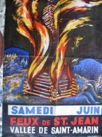 Folkore Local Feux De Saint Jean Vallée De Saint Amarin  55 X 80 Cm Env Non Datée ( 1955/60 Env ) BE Alsatia Colmar - Posters