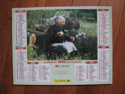 Calendrier De La Poste 1996    PTT    Recto Verso Filandière Er Pêcheur Réparant Son Filet - Calendriers