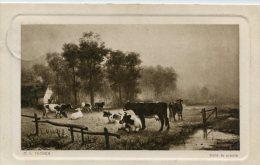 CPA PEINTURE CHAMPÊTRE VACHES O.V.THOREN DANS LA PRAIRIE Envoyée De Belgique 1910 - Peintures & Tableaux
