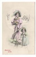 HEUREUSE  ANNEE  /  FEMME 1900 + FILLETTE Avec COCHON Dans Un Landau ( Paysage De Neige ) /  Série Viennoise - Pigs