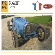 Fiche  -  Bugatti Racing Cars  -  1931  Bugatti Type 51   -  Carte De Collection - Voitures
