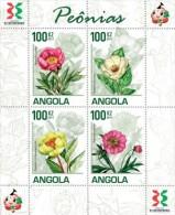 ang11103a Angola 2011 Peony Flowers s/s Michel: 1853~6 Scott:1371a~d
