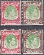 * 1948-52 SINGAPORE ( MALAYA ) GIORGIO VI - 2$+5$ DENT. 14 - 2$+5$ DENT. 18 - MINT HINGED  ( YVERT 19AB+20AB ) - Singapore (1959-...)