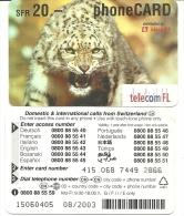 Liechtenstein-telecom Fl-distributed By-(kiosk)(tiger)-(20chf)-used Card+1 Card Prepiad Free - Liechtenstein