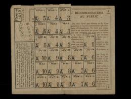 CARTE D'ALIMENTATION - Ministère Du Ravitaillement - 1919 - Vieux Papiers
