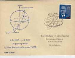 1193 FDC Leipzig 1967 Sputnik , Espacio, - [6] République Démocratique