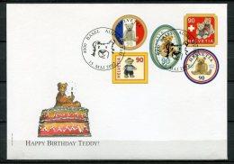 """First Day Cover Schweiz 2002 Mi.Nr.1796/1800 Selbstkleber """"100 Jahre Teddybär"""" 1 FDC - Puppen"""