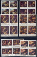ROMANIA 1970 Paintings With Hunting Scenes In Blocks Of 4  MNH / **  Michel 2876-81 - 1948-.... Republics
