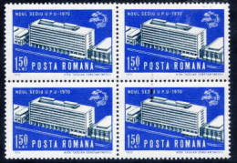 ROMANIA 1970  UPU Building In Block Of 4  MNH / **  Michel 2875 - 1948-.... Republics