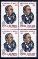 ROMANIA 1970  Engels 150th Anniversary In Block Of 4  MNH / **  Michel 2867 - 1948-.... Republics