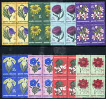 ROMANIA 1970 Flowers Of The Steppe In Blocks Of 4  MNH / **  Michel 2824-31 - 1948-.... Republics