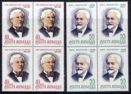 ROMANIA 1968 Personalities' Anniversaries In Blocks Of 4  MNH / **  Michel 2684-85 - 1948-.... Republics