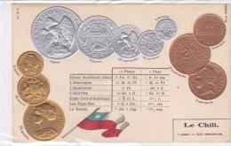 CARD MONETE CILE BANDIERA IN RILIEVO COME DA SCANNER   -FP-N-2-0882-19208 - Monete (rappresentazioni)