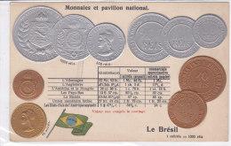 CARD MONETE BRASILE BANDIERA IN RILIEVO COME DA SCANNER   -FP-N-2-0882-19209 - Monnaies (représentations)