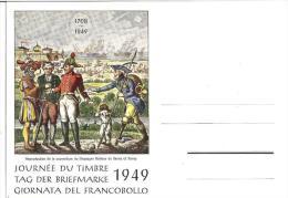 Suisse: J.d.t VEVEY 4.XII.1949: Messager Boiteux De Berne Et Vevey (CHF 14) Carte Vide - Tag Der Briefmarke