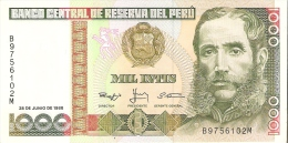 BILLETE DE PERU DE 1000 INTIS DEL AÑO 1988  (BANKNOTE) SIN CIRCULAR-UNCIRCULATED - Perú
