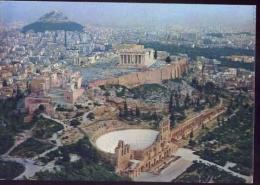 Atene - The Acropolis As Seen By Air - Formato Grande Viaggiata - D - Grecia