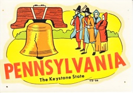 1950´s Decal (autocollant)  PENNSYLVANIA  THE KEYSTONE STATE - Stickers