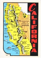 1950´s Decal (autocollant)  CALIFORNIA,  MAP - Stickers