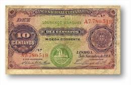 MOZAMBIQUE - 10 CENTAVOS - 05.11.1914 - P 59 - STEAMSHIP SEAL TYPE III - Portugal - Mozambique