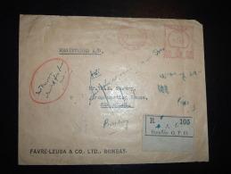 LR EMA U37 à 6,6 Du 18 III 49 BOMBAY G.P.O. / F.L.C. B.258 + FAVRE-LEUBA MONTRE HORLOGE SABLIER - 1947-49 Dominion