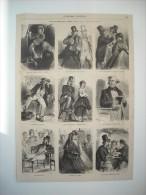 GRAVURE 1864. LES ANGLAIS CHEZ EUX. 9 DESSINS HUMORISTIQUES PAR HERBERT KÖNIG. - Prints & Engravings
