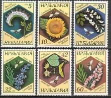 BULGARIA / BULGARIE - 1987 - Abelles Et Fleurs - 6v** - Honeybees