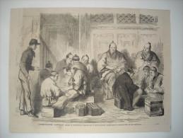 GRAVURE 1864. JAPON. COMMISSAIRES JAPONAIS PAYANT LA CONTRIBUTION IMPOSEE PAR LE GOUVERNEMENT ANGLAIS POUR LE MEURTRE... - Stiche & Gravuren