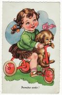 """Carte Postale Chromo Rapportée Gaufrée Enfant Fillette Chien Tricycle """"Première Sortie"""" - Bouret, Germaine"""