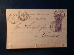 38/880  CP  1879  POUR VERVIERS OBL.  ALLEMAGNE PAR VERVIERS - Germany