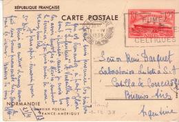 ENTIER POSTAL - PAQUEBOT NORMANDIE - Utilisé Pour L´ ARGENTINE, Au Tarif Et Utilisation Non Philatélique - RARE . - Entiers Postaux