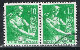 FRANCE : N° 1231 Oblitéré En Paire Horizontale (Type Moissonneuse) - PRIX FIXE - - Frankreich